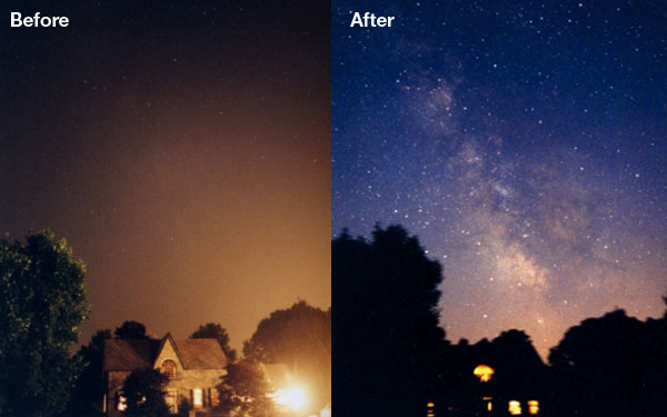 Same night photo with light pollution source and without source